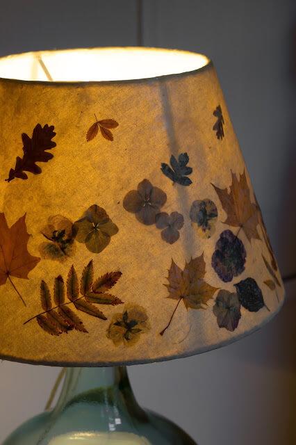 DIY Autumn Leaves Lamp Shade