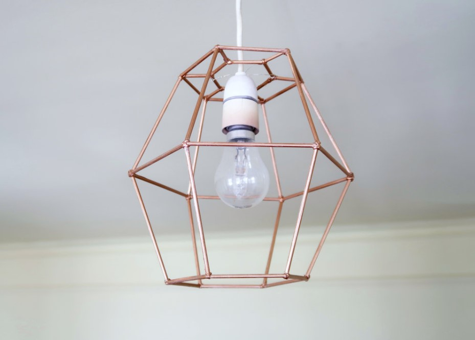 DIY Geometric Lamp Shade from Skewers