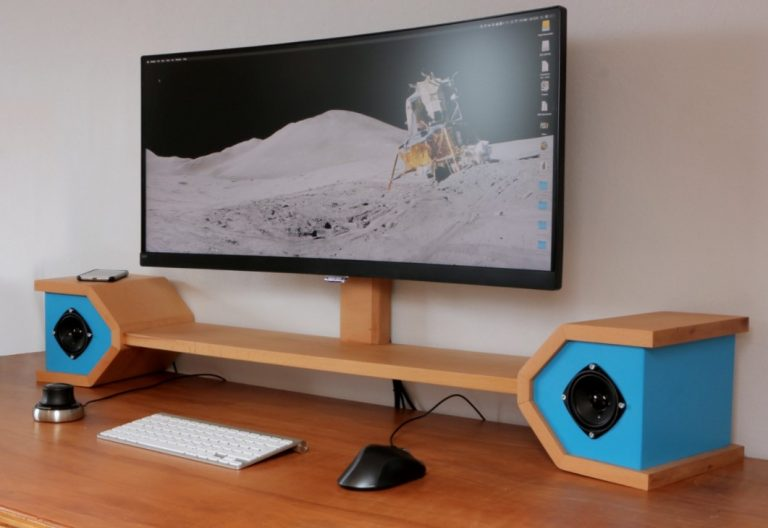 DIY Monitor Stand with A Wireless Charger and Speakers