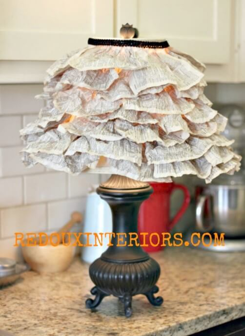DIY Lampshade from Book Pages