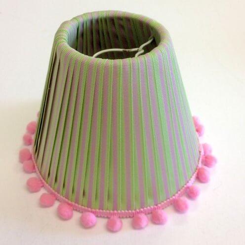 DIY Small Cute Ribbon Lamp Shade with Pom Pom
