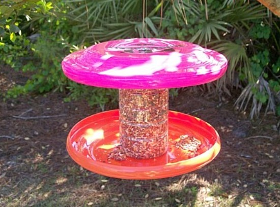 Bird feeder made from mainly recycled materials.