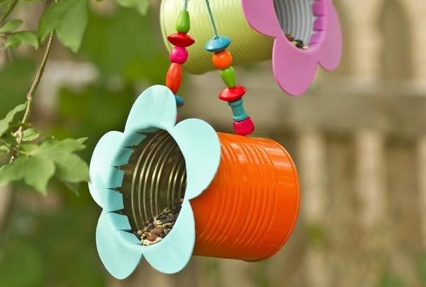 DIY Tin Can Flower Bird Feeder