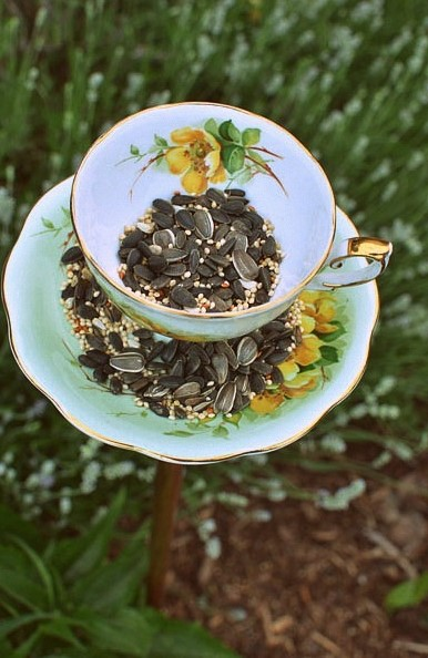 Homemade Bird Feeder from Vintage Teacups