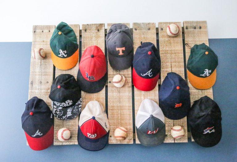 Scrap Wood Pallet Baseball Hat Rack