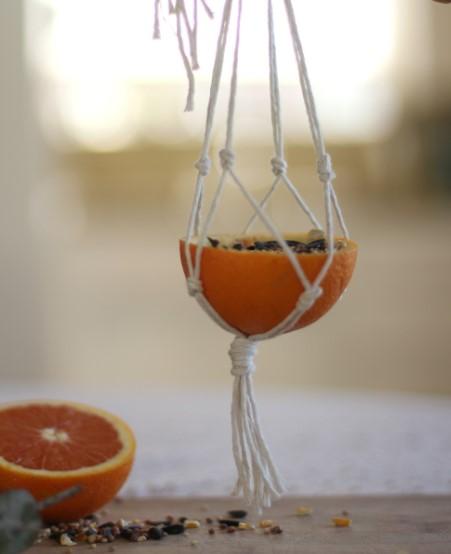 Simple Macrame Orange Bird Feeder