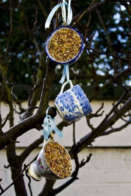 vintage teacup bird feeders