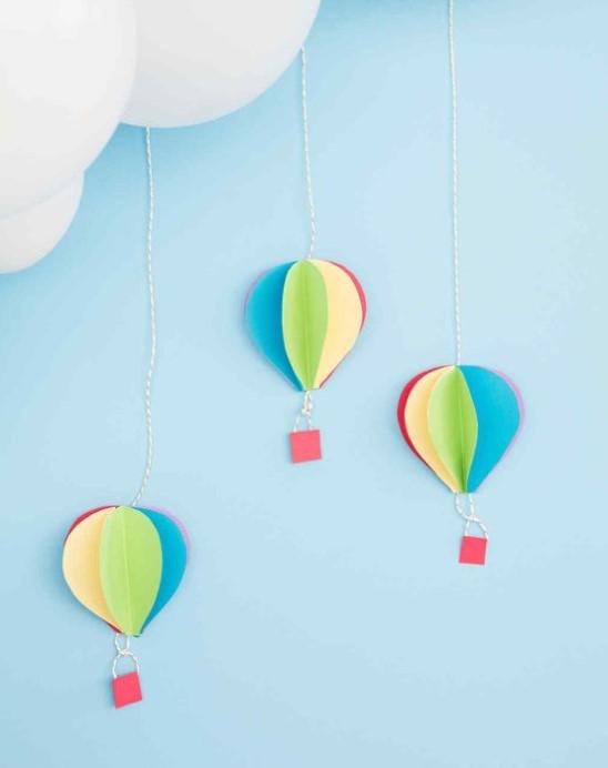 3 D Hot Air Balloon Paper Decorations