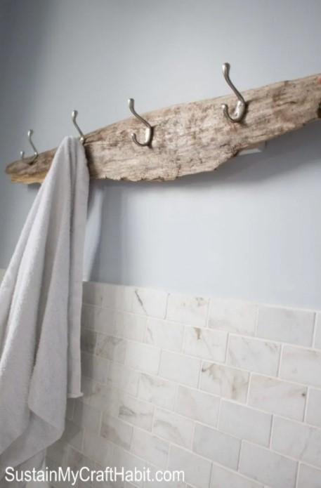 A Beachcombers Rustic Towel Rack