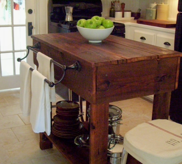 A Rustic Kitchen Table Island