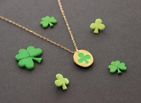Air Dry Clay Clover Necklace for St. Patricks Day