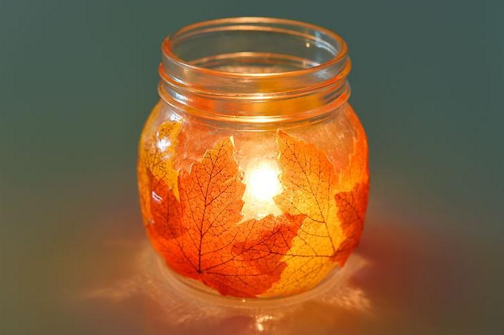 Beautiful Mason Jar Leaf Lanterns