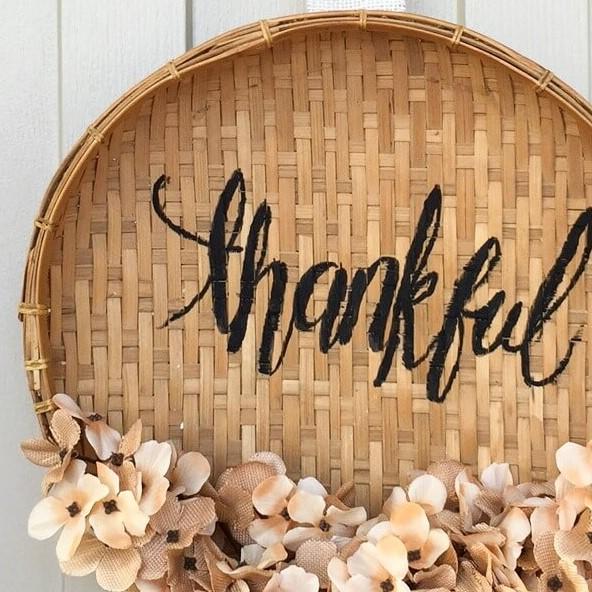 DIY Basket Wreath for Thanksgiving