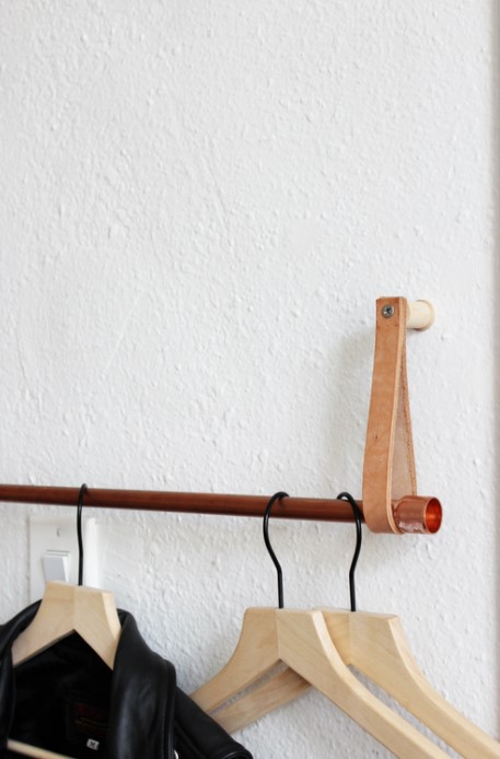 DIY Copper and Leather Hanging Clothing Rack