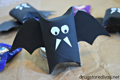 DIY Halloween Bat Candy Tubes from upcycled toilet paper rolls