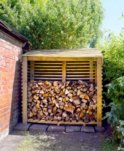 Build a DIY firewood rack backyard