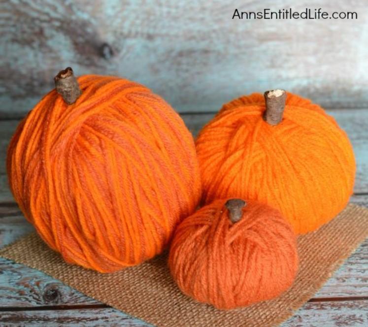 DIY No Sew Yarn Wrapped Pumpkins