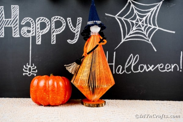 DIY Old Book Floating Witch with Broom Halloween Decor