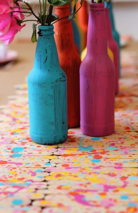 DIY Splatter Paint Popsicle Stick Runner