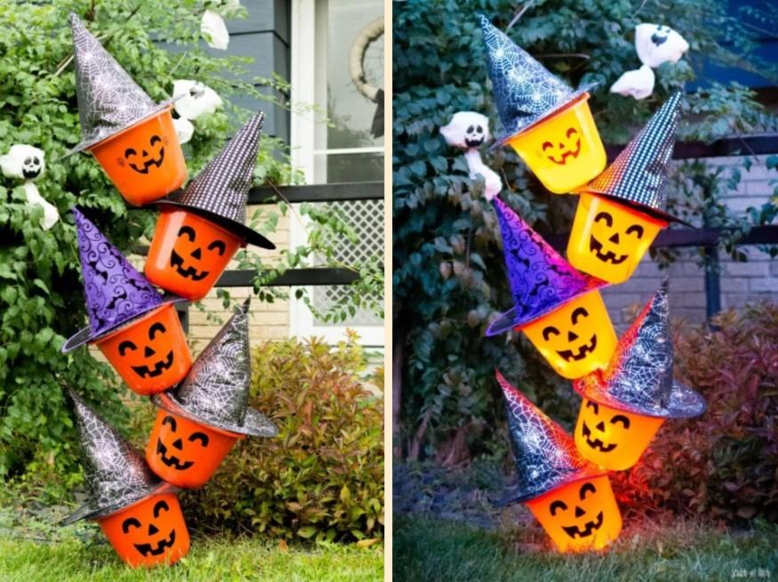 DIY Tipsy Pumpkin Bucket Totem Day and Night