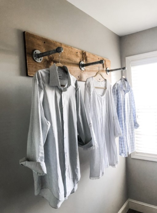 DIY clothing rack for your laundry room