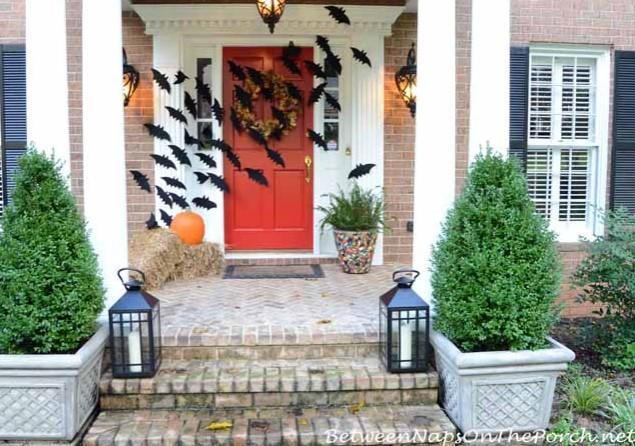 Halloween Front Porch with Bats Across the Door
