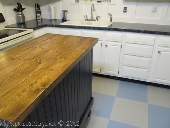 KITCHEN ISLAND MADE FROM DESK
