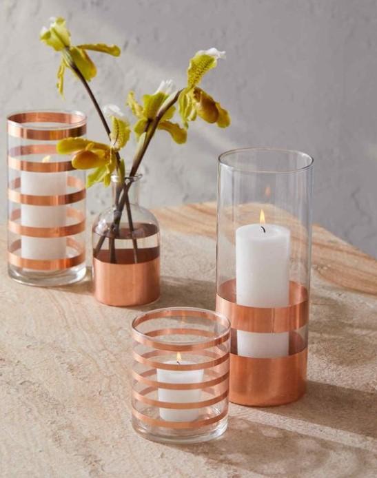 Metallic Striped Glassware