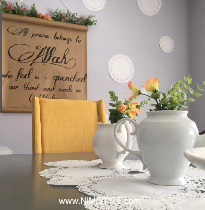 Our DIY Ramadan DIY Doily Table Runner Gratitude Wall