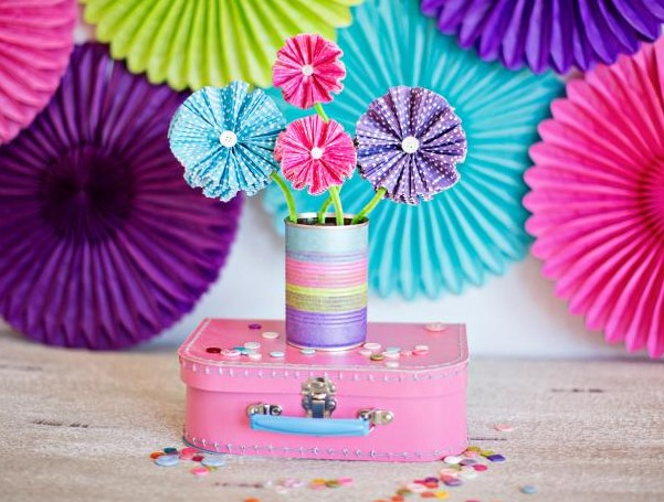 Paper Flowers Using Cupcake Liners