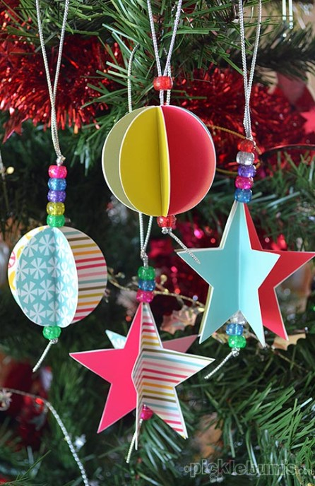 Star and Circle Paper Christmas Decorations