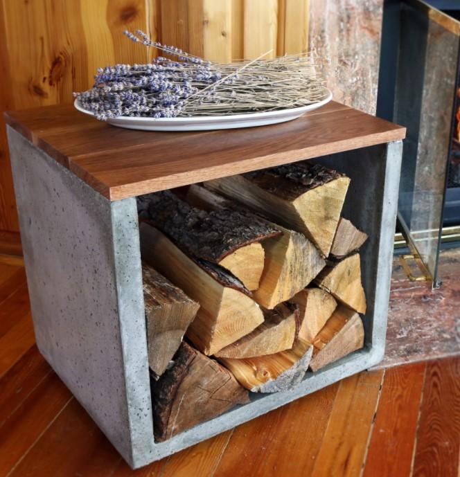 a Concrete Log Holder