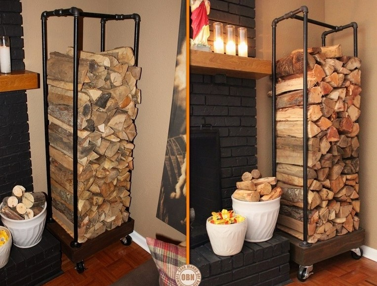 a fire wood holder from plumbing pipes