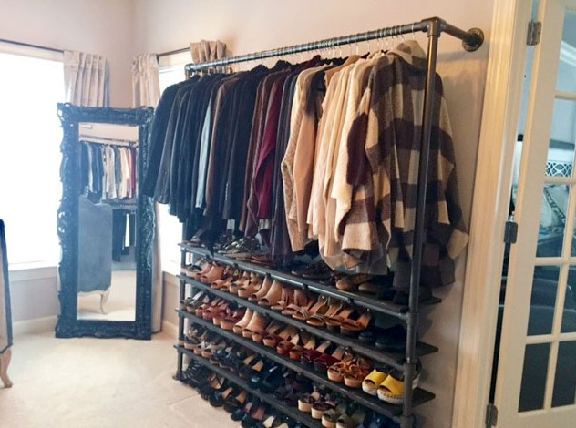 DIY Closet System Built with Pipe Fittings Plans Included