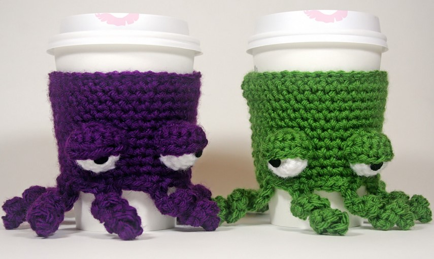 Grumpy Octopus Coffee Cup Cozy