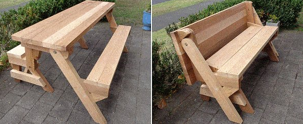 a one piece folding picnic table out of 2×4 lumber