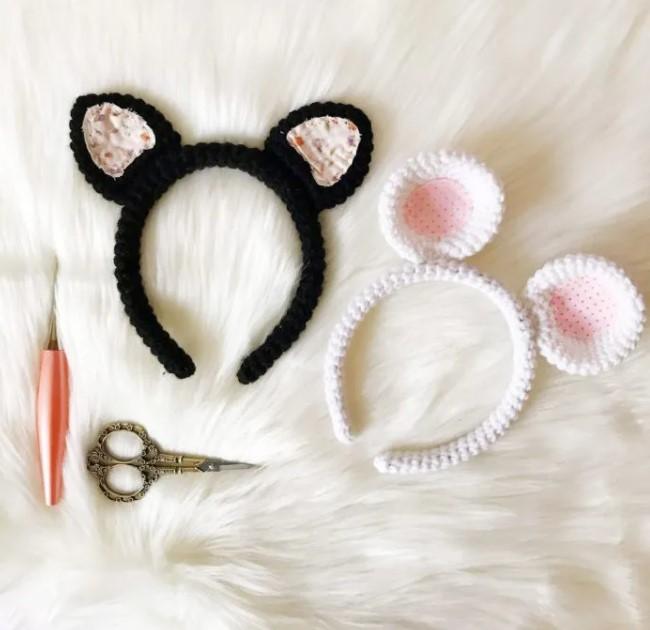 Crochet Mouse Headband Pattern