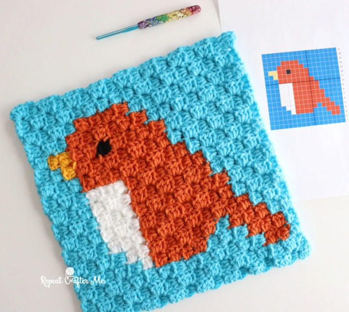 crochet sparrow c2c square